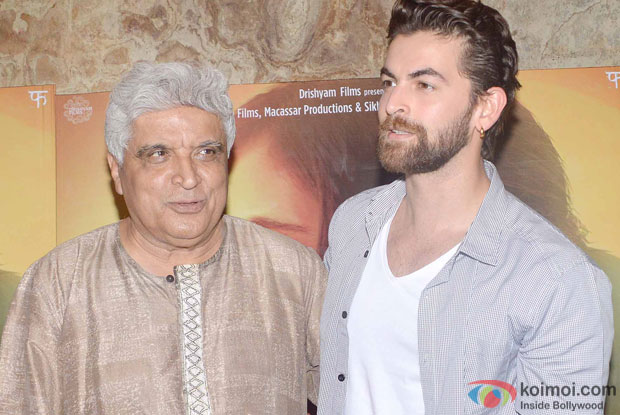 Javed Akhtar and Neil Nitin Mukesh during the special screening of film Masaan in Mumbai.