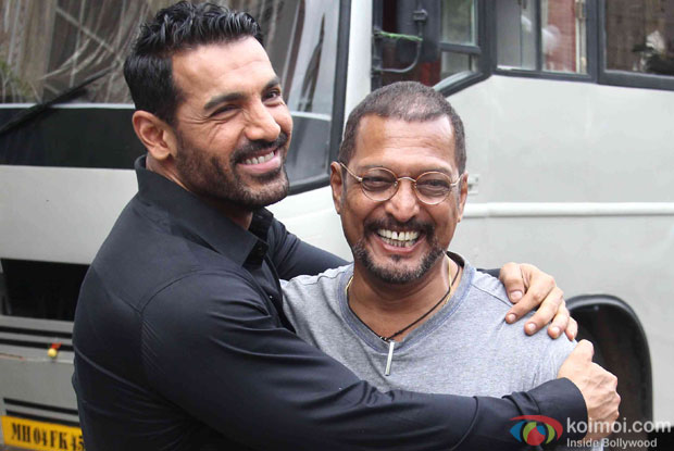 John Abraham and Nana Patekar during a song shoot for movie 'Welcome Back'