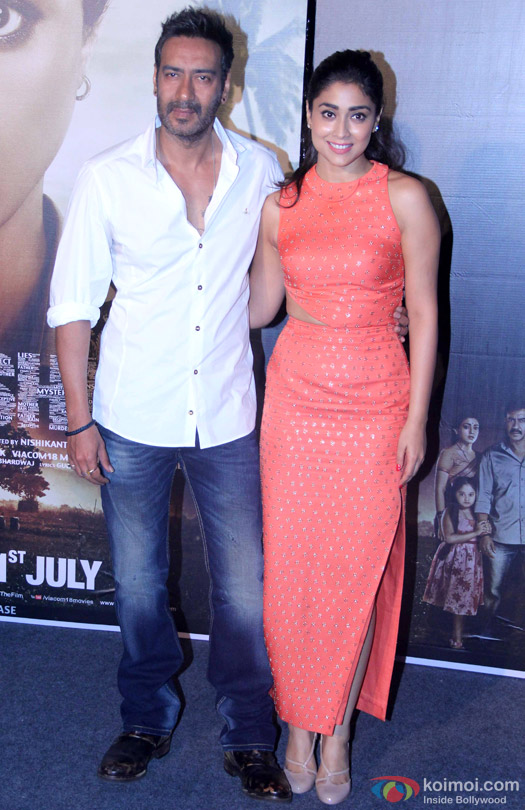 Ajay Devgn and Shriya Saran during the press conference of movie 'Drishyam'