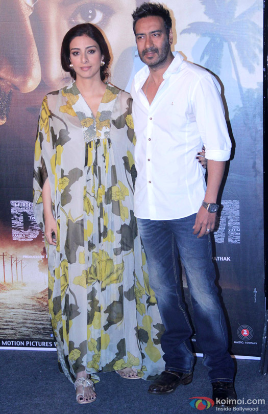 Tabu and Ajay Devgn during the press conference of movie 'Drishyam'