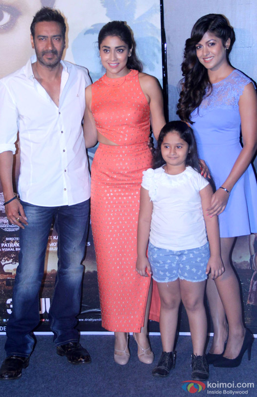 Ajay Devgn, Shriya Saran, Mrinal Jadhav and Ishita Dutta during the press conference of movie 'Drishyam'