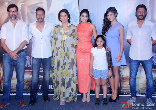 Rajat Kapoor, Ajay Devgn, Tabu, Shriya Saran, Mrinal Jadhav, Ishita Dutta and Nishikant Kamat during the press conference of movie 'Drishyam'
