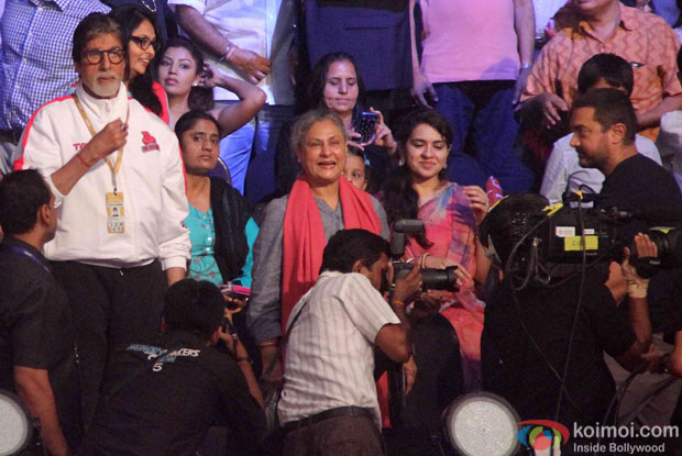 Amitabh Bachchan, Jaya Bachchan and Aamir Khan during the opening ceremony of the Pro Kabaddi League 2015