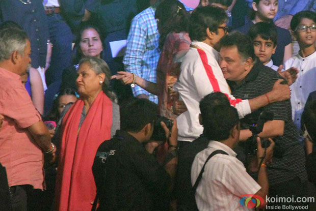 Jaya Bachchan, Amitabh Bachchan and Rishi Kapoor during the opening ceremony of the Pro Kabaddi League 2015