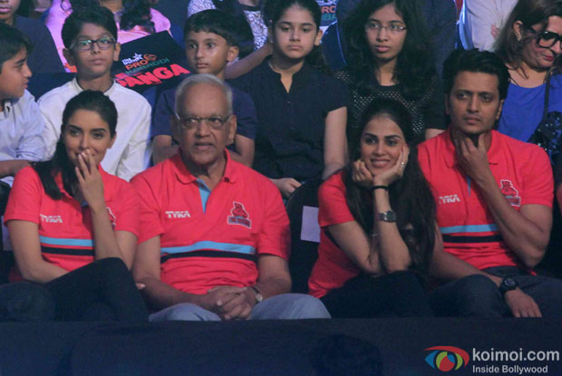 Asin, Genelia D'Souza and Riteish Deshmukh during the opening ceremony of the Pro Kabaddi League 2015