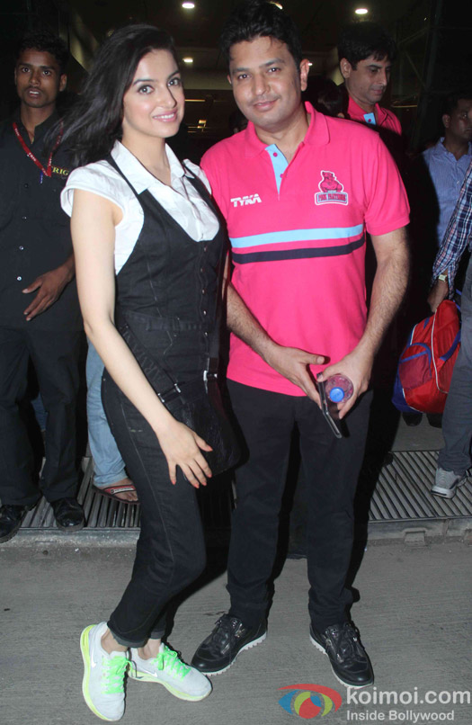 Divya Khosla Kumar and Bhushan Kumar during the opening ceremony of the Pro Kabaddi League 2015