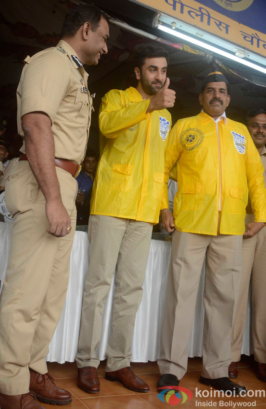 Ranbir Kapoor during an event organised to facilitate Mumbai Traffic Police and acknowledging their service in Mumbai.