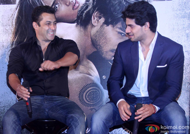 Salman Khan and Sooraj Pancholi during the trailer launch of movie 'Hero'