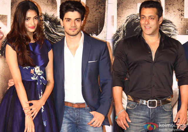 Athiya Shetty, Sooraj Pancholi and Salman Khan during the trailer launch of movie 'Hero'