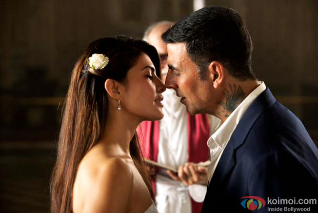 Jacqueline Fernandes and Akshay Kumar in a still from movie 'Brothers'