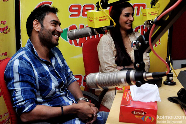 Ajay Devgn and Tabu during the promotion of movie Drishyam at Red FM 93.5