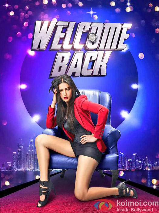 Shruti Hassan in a still from 'Welcome Back' movie poster