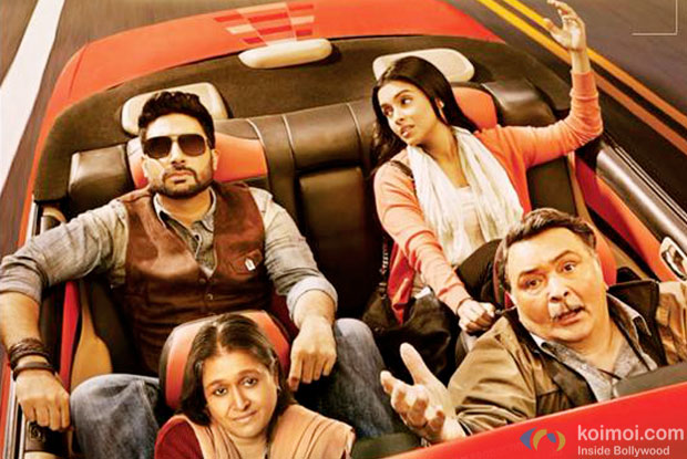 Supriya Pathak, Abhishek Bachchan, Asin and Rishi Kapoor in a still from 'All Is Well' movie poster