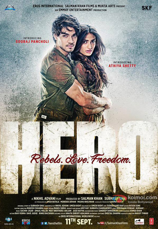 Sooraj Pancholi and Athiya Shetty in a 'Hero' movie poster