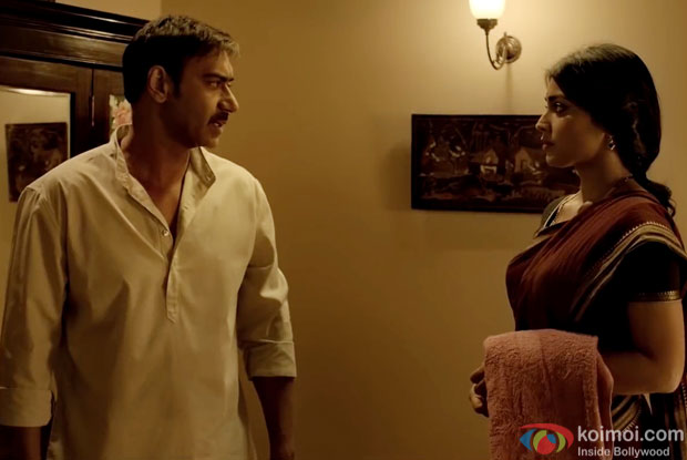 Ajay Devgn and Shriya Saran in a still from movie 'Drishyam'
