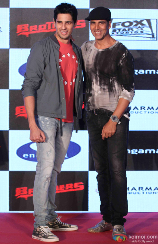 Sidharth Malhotra and Akshay Kumar during the game launch 'Brothers: Clash of Fighters'