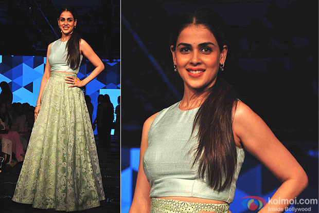 Genelia D'Souza walks the ramp during the Lakme Fashion Week Winter/Festive 2015
