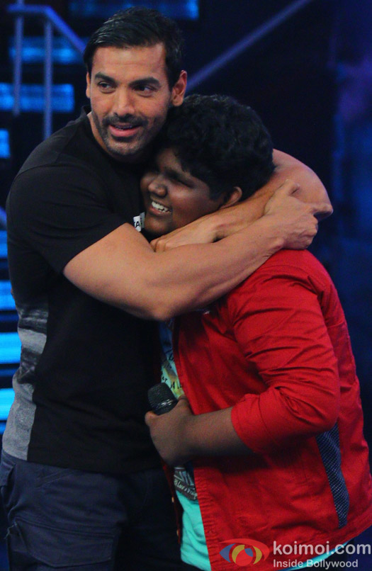John Abraham during the promotion of film Welcome Back on the sets of Indian Idol Junior