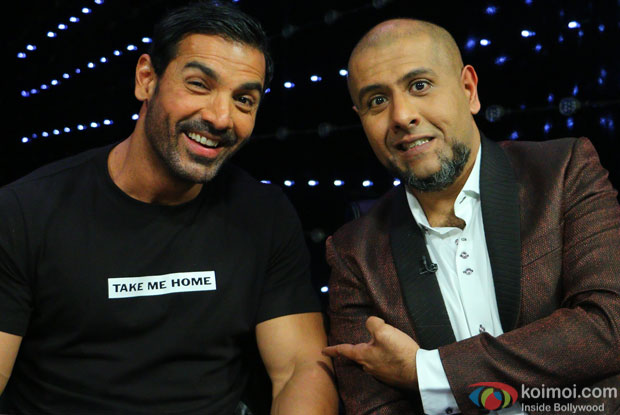 John Abraham and Vishal Dadlani during the promotion of film Welcome Back on the sets of Indian Idol Junior