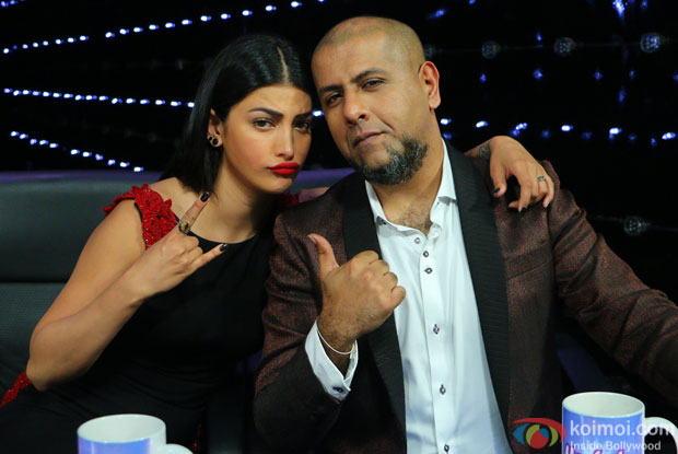 Shruti Hasan and Vishal Dadlani during the promotion of film Welcome Back on the sets of Indian Idol Junior