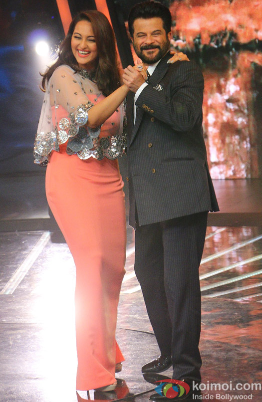 Sonakshi Sinha and Anil Kapoor during the promotion of film Welcome Back on the sets of Indian Idol Junior