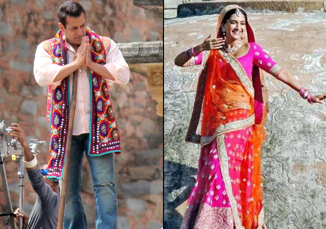Salman Khan and Sonam Kapoor on the sets of movie 'Prem Ratan Dhan Payo'