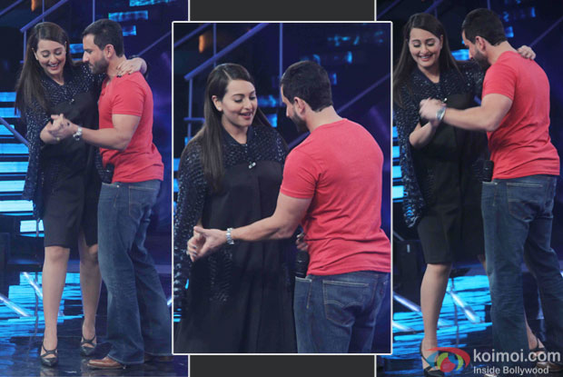 Sonakshi Sinha and Saif Ali Khan during the promotion of film Phantom on the sets of Indian Idol Junior