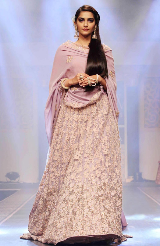 Sonam Kapoor walks the ramp during the BMW Indian Bridal Fashion Week 2015