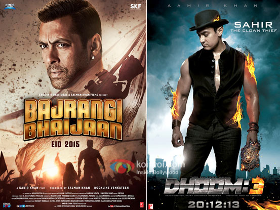 Bajrangi Bhaijaan and Dhoom 3 movie posters