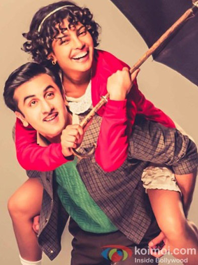 Ranbir Kapoor and Priyanka Chopra in a still from movie 'Barfi'