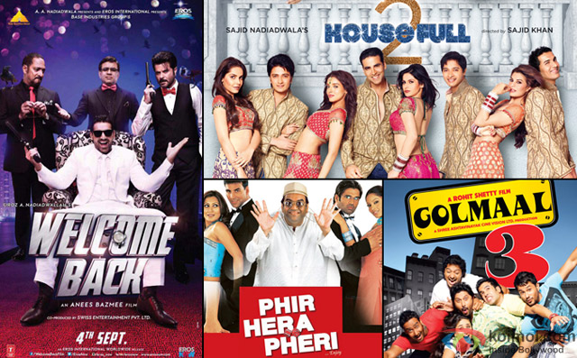 Welcome Back, Housefull 2, Phir Hera Pheri and Golmaal 3 Movie Poster