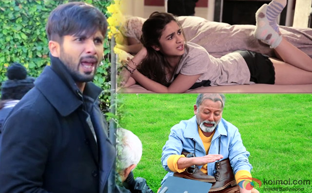 Shahid Kapoor, Alia Bhatt and Pankaj Kapur on the sets of movie 'Shaandaar'