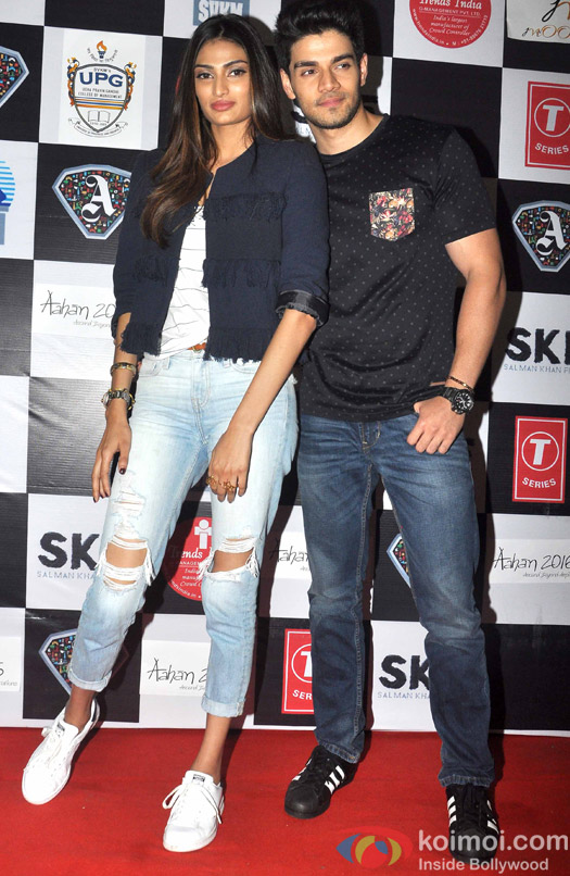 Athiya Shetty and Sooraj Pancholi during the promotion of movie hero