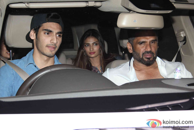 Aahan Shetty, Athiya Shetty and Sunil Shetty at Yash Raj Studio