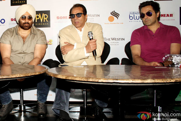 Sunny Deol, Dharmendra and Bobby Deol at an event