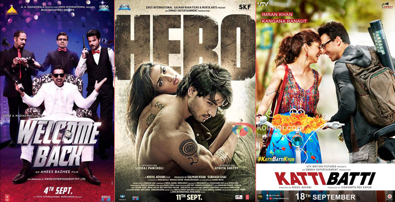 Welcome Back, Hero and Katti Batti movie posters