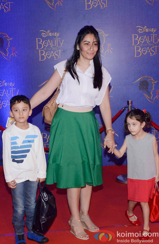 Manyata Dutt, Iqra Dutt and Shahraan Dutt at the premier of Disney India's stage musical 'Beauty and the Beast'