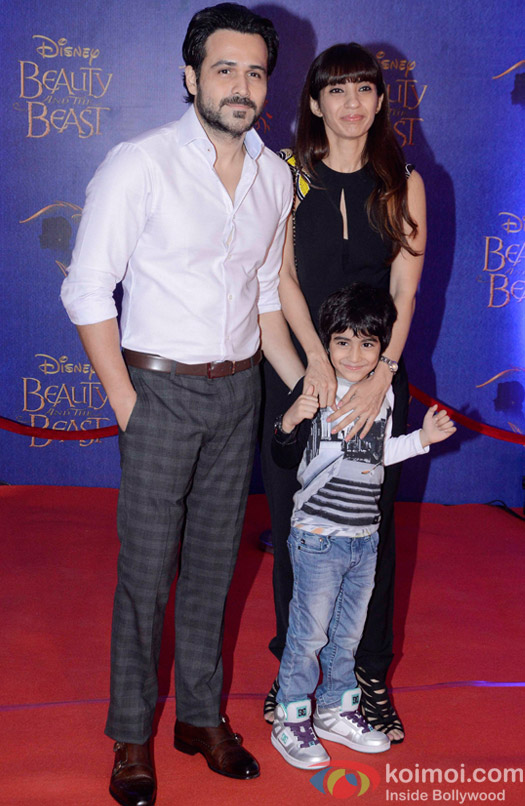 Emraan Hashmi, Parveen Shahani and Ayaan Hashmi at the premier of Disney India's stage musical 'Beauty and the Beast'