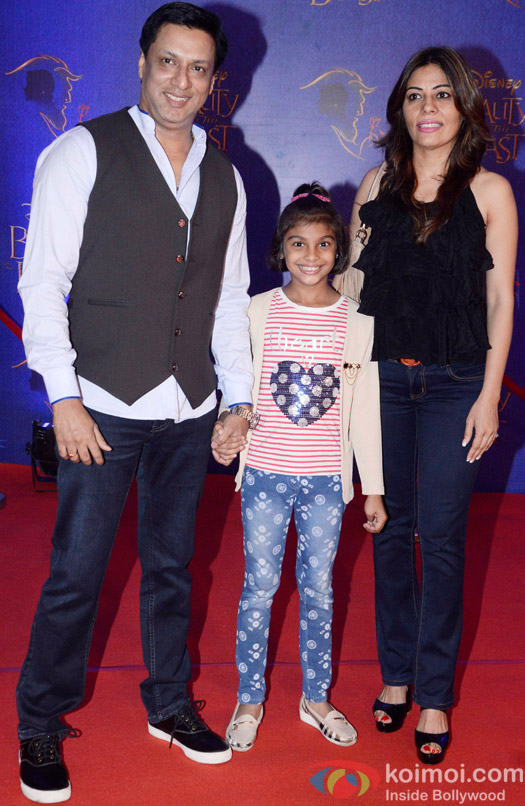 Madhur Bhandarkar, Renu Namboodiri and Siddhi at the premier of Disney India's stage musical 'Beauty and the Beast'