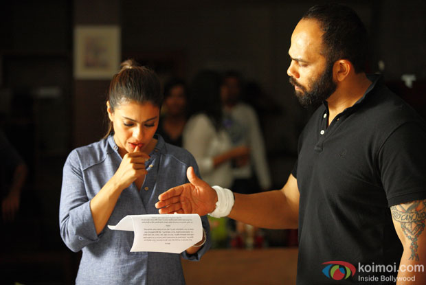 Kajol and Rohit Shetty on the sets of 'Dilwale'