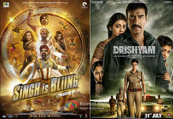 Singh Is Bliing and Drishyam movie posters
