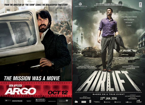 'Argo' and 'Airlift' movie posters