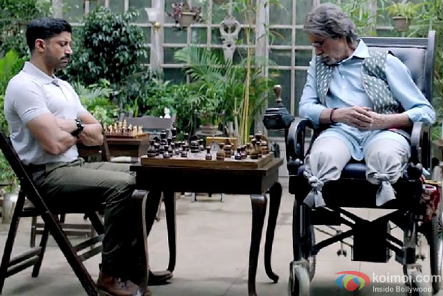 Farhan Akhtar and Amitabh Bachchan in a still from 'Wazir'