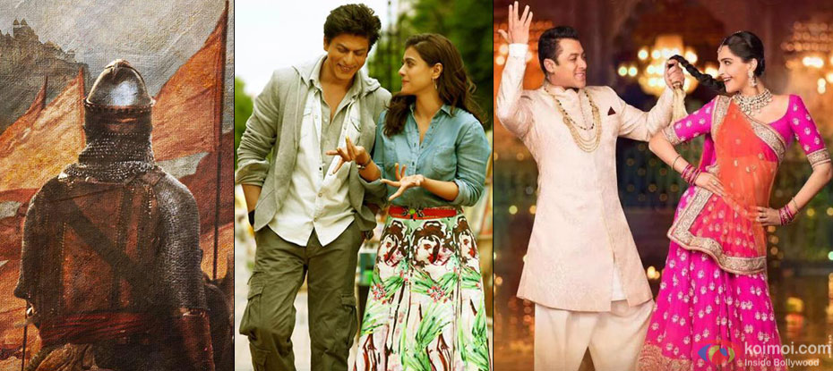A still from 'Bajirao Mastani', 'Dilwale' and 'Prem Ratan Dhan Payo'