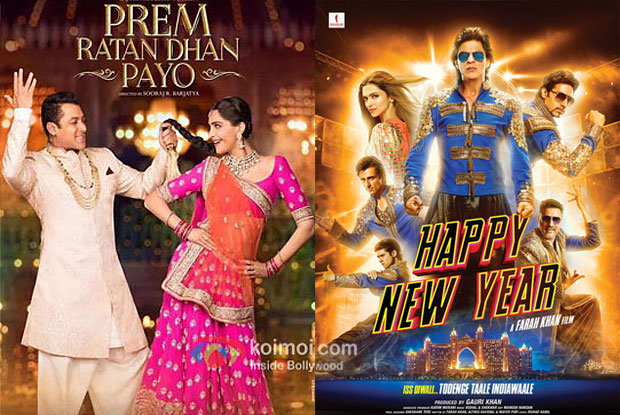 Prem Ratan Dhan Payo and Happy New Year movie posters