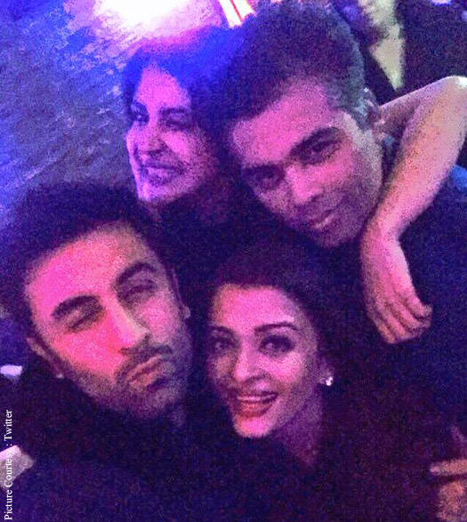 Ranbir Kapoor, Anushka Sharma, Aishwarya Rai Bachchan and Karan Johar on the sets of 'Ae Dil Hai Mushkil'