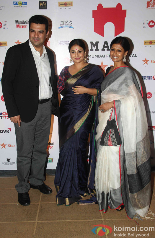 Siddarth Roy Kapoor, Vidya Balan and Nandita Das during the closing ceremony of Jio MAMI 17th Mumbai Film Festival