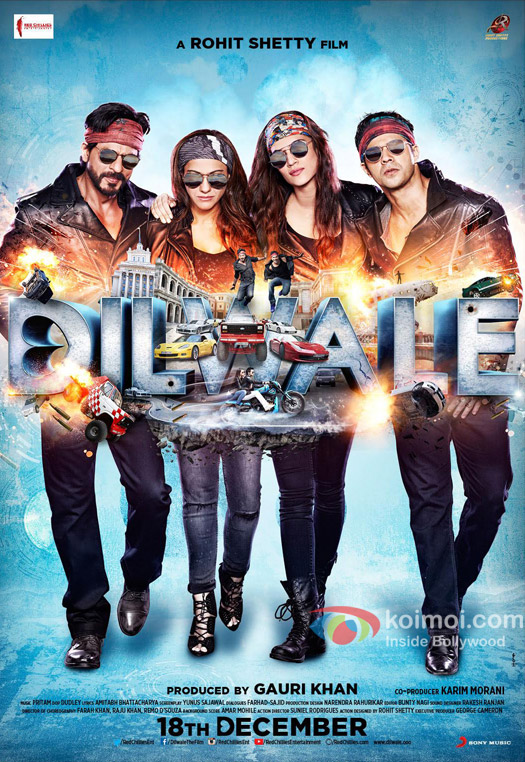 Shah Rukh Khan, Kriti Sanon, Kajol and Varun Dhawan in still from 'Dilwale' movie poster