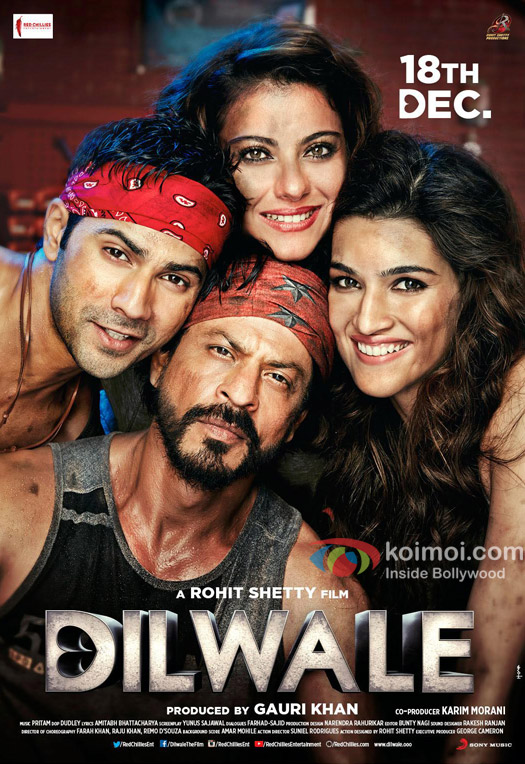 Varun Dhawan, Kajol, Shah Rukh Khan and Kriti Sanon in still from 'Dilwale' movie poster