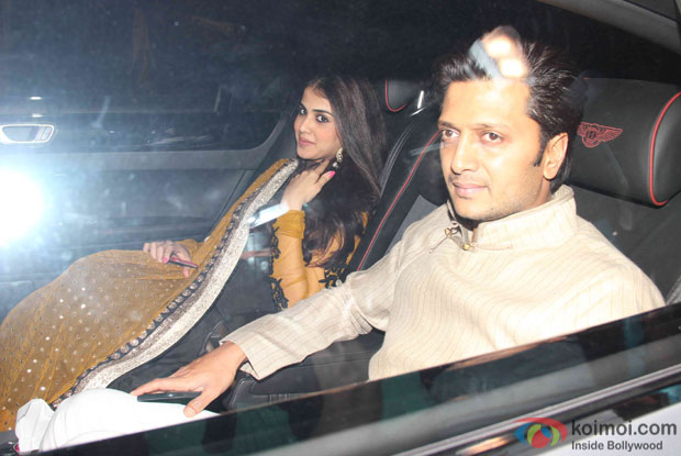 Genelia D'Souza and Rithesh Deshmukh attend Akshay Kumar's Diwali party